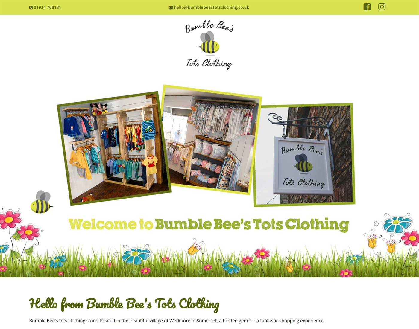 Bumble Bees Tots Clothing - Screen Grab